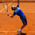 Juan Monaco serving during the final of the Power Horse Cup 2013 at Rochusclub in Duesseldorf, Germany on May 25, 2013.