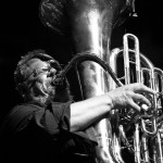 French tuba player Michel Godard performing live during the Gala concert at the ZMF music festival in Freiburg, Germany on July 7, 2013.