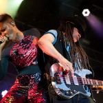 Skin (left) and Cass from Skunk Anansie live at Stimmen music festival in Lˆrrach, Germany, July 18, 2013.