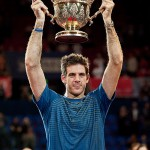 Basel, Switzerland. 27th Oct, 2013. J.M. Del Potro (ARG) raises trophy of the Swiss Indoors at St. Jakobshalle on Sunday.