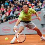 Duesseldorf, Germany. 24 May, 2014. Philipp Kohlschreiber (GER) slides to reach the ball during the final of the Duesseldorf Open at Rochusclub on Saturday.