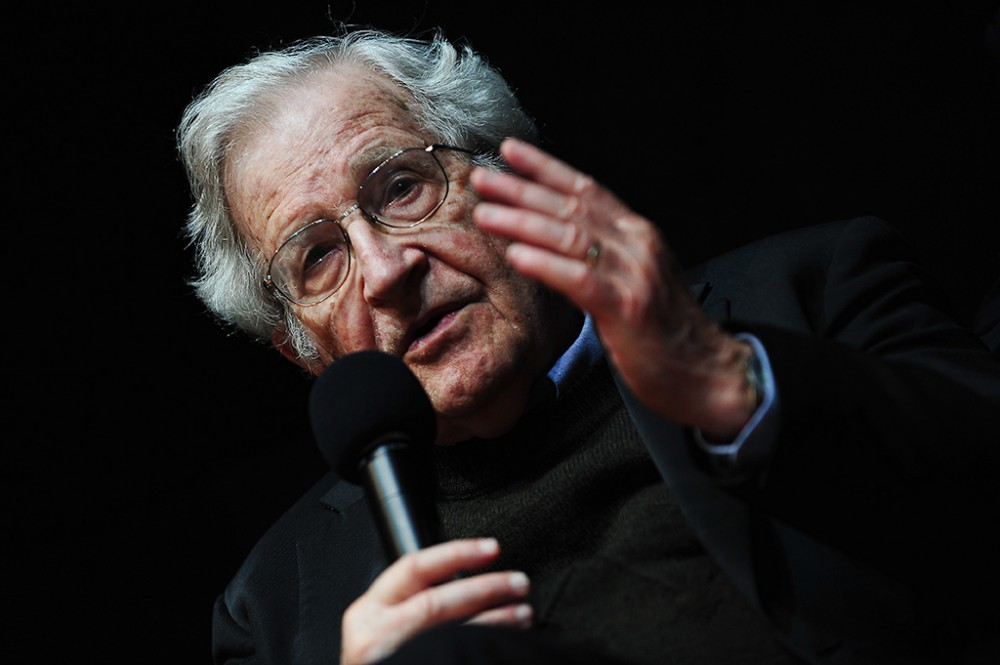 Social critic and peace activist Noam Chomsky (85) speaks on 'Driving forces in US policy' at ZKM in Karlsruhe, Germany on May 30, 2014.