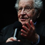 Karlsruhe, Germany. 30 May, 2014. Noam Chomsky (85) speaks on 'Driving forces in US policy' at ZKM Karlsruhe on Friday.