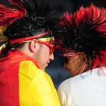 More than ten thousand fans watch the game from the FIFA World Cup 2014 in Brazil between Germany and Portugal at a public viewing area in Freiburg. Germany wins with a devastating 4:0 on June 16.