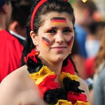 Freiburg, Germany. 4th July, 2014. German and french football fans at a large public viewing area in Freiburg watch Germany advance to the semi finals of the FIFA World Cup 2014 after beating France 0-1.