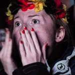 Football fans at a large public viewing area in Freiburg watch Germany advance to the final of the FIFA World Cup 2014 after defeating the home favorite Brazil 7-1 on July 8.