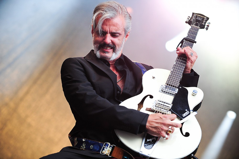 Lörrach, Germany.  26th July, 2014. Ruben Block (vocals, guitar) from Belgian rock band Triggerfinger performs live at Stimmen (Voices) music festival in Lörrach, Germany.