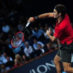 Roger Federer hits a smash volley during the semi final of the Swiss Indoors  at St. Jakobshalle in Basel, Switzerland on October 25, 2014.