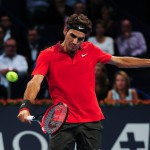 Roger Federer during the final of the Swiss Indoors  at St. Jakobshalle in Basel, Switzerland on October 26, 2014.