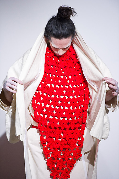 Dutch artist Gwen van den Eijnde during his Japan-inspired fashion performance at Atelier Mondial. January 16, 2015.