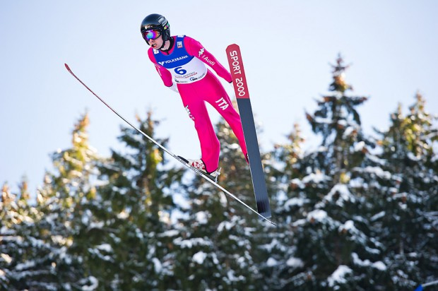 Sebastian Colloredo (ITA) competes in the Large Hill Individual competition on day one of the FIS Ski Jumping World Cup on February 7, 2015 in Titisee, Germany.