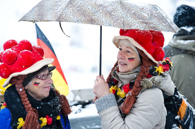 German supporters during the Large Hill Individual competition on day two of the FIS Ski Jumping World Cup in Titisee, Germany.