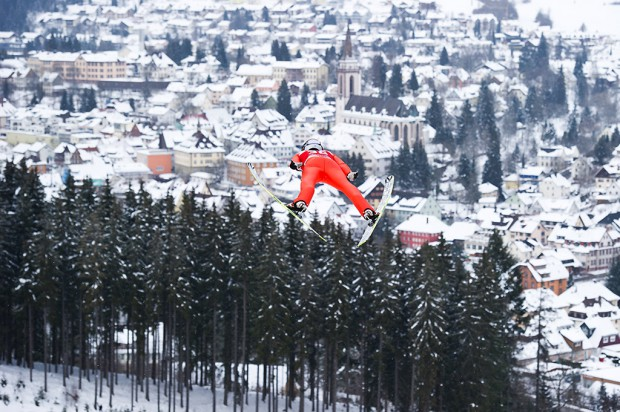 Jarkko Maeaettae (FIN) in flight during the Large Hill Individual competition on day two of the FIS Ski Jumping World Cup in Titisee, Germany.