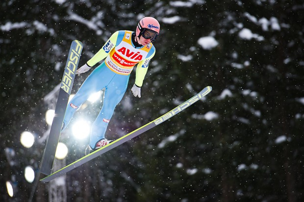 Stefan Kraft (AUT) in flight during the Large Hill Individual competition on day two of the FIS Ski Jumping World Cup on February 8, 2015 in Titisee, Germany.