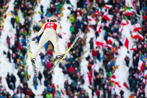 Piotr Zyla (POL) competes during the Large Hill Individual competition on day two of the FIS Ski Jumping World Cup in Titisee, Germany.