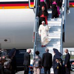 Lahr, Germany. September 24, 2011. Pope Benedikt XVI arrives at the airport in Lahr for his visit in Freiburg, accompanied by the cardinals of Vatican.