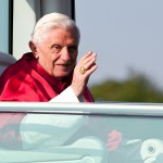Freiburg, Germany. September 25, 2011. Pope Benedikt XVI waves from his Popemobile during his visit in Freiburg on  Sunday.