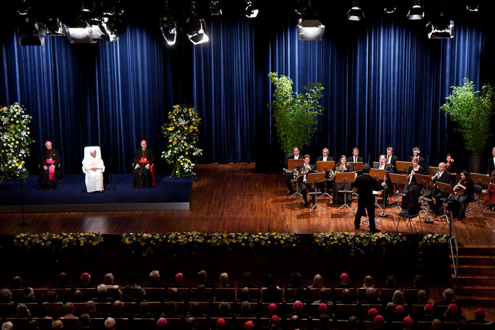 Freiburg, Germany. September 25, 2011. Pope Benedikt XVI enjoys a Mozart concert  at the Concert House in Freiburg during his visit on Sunday.